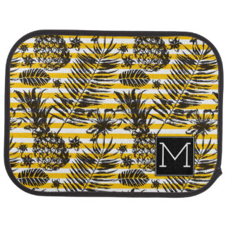 Hand Drawn Pineapples | Monogram Car Mat