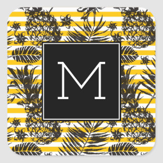 Hand Drawn Pineapples | Monogram Square Sticker