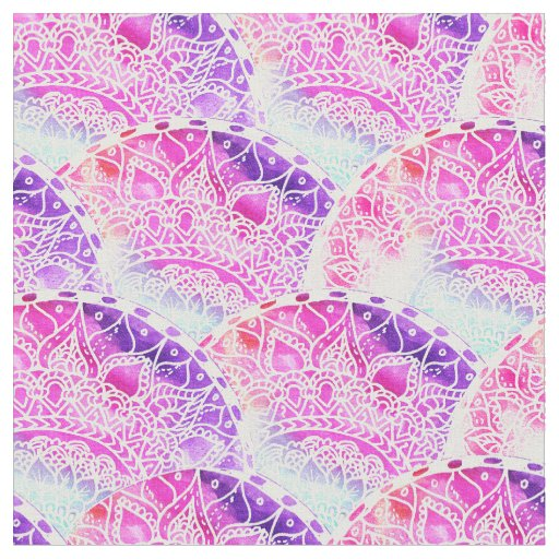 Hand drawn pink purple watercolor paisley scallop fabric