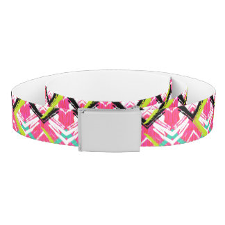 Hand Drawn Pink Zig Zag Pattern Belt