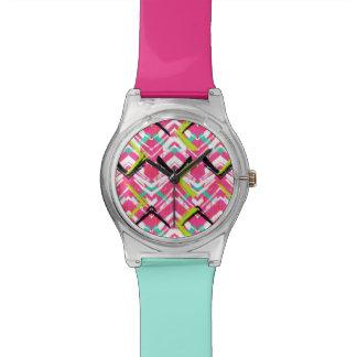 Hand Drawn Pink Zig Zag Pattern Watch