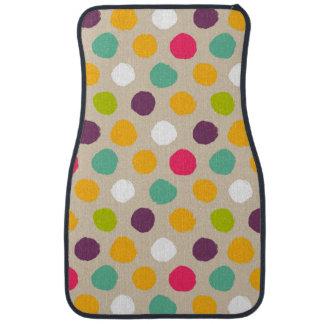 Hand-drawn polka dot pattern car mat