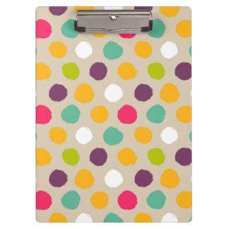 Hand-drawn polka dot pattern clipboard