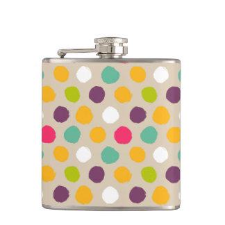 Hand-drawn polka dot pattern hip flask