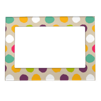 Hand-drawn polka dot pattern photo frame magnets
