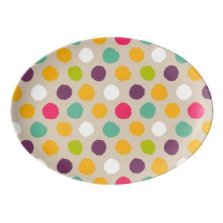 Hand-drawn polka dot pattern porcelain serving platter