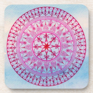 Hand Drawn Pretty Pink And Blue Mandala Flower Coaster