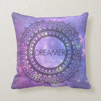 Hand Drawn Pretty Purple Galaxy Unique Mandala Art Throw Pillow