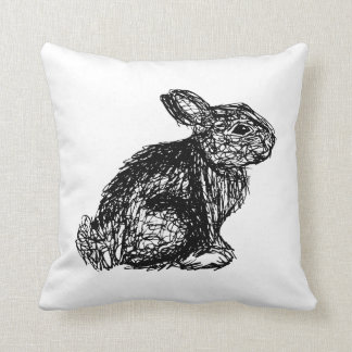 Hand-drawn Rabbit Cushion