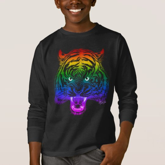 Hand Drawn Rainbow Tiger Boy's Long Sleeve T-shirt