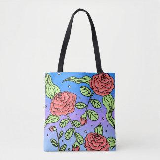 Hand-Drawn Red Rose Tote Bag