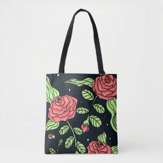 Hand Drawn Red Roses Tote Bag