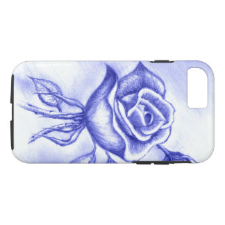 Hand Drawn Rose, Light Blue, iPhone 7, Tough Case