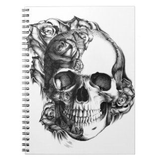 Hand drawn rose skull in black and white. notebook