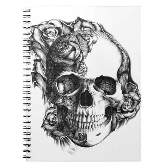 Hand drawn rose skull in black and white. notebooks