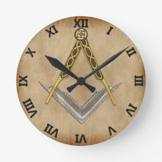 Hand Drawn Square and Compass Round Clock