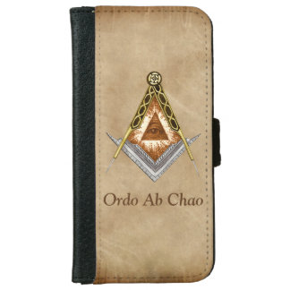 Hand Drawn Square and Compass With All Seeing Eye iPhone 6 Wallet Case