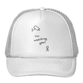 "Hand drawn stick man ""I'm watching you"" hat"