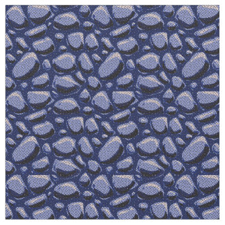 hand drawn stone tiled pattern halftone dot blue fabric