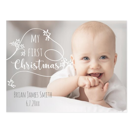 Hand Drawn Style First Christmas Photo Card