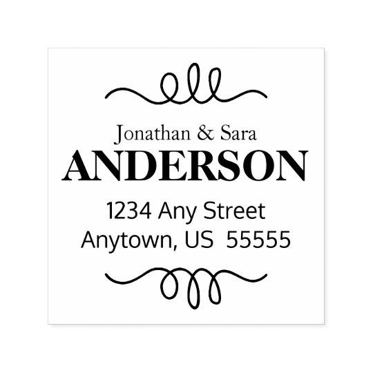 Hand Drawn Swirl Accent Return Address Self-inking Stamp