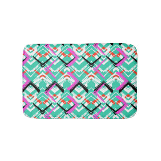 Hand Drawn Teal Zig Zag Pattern Bath Mat