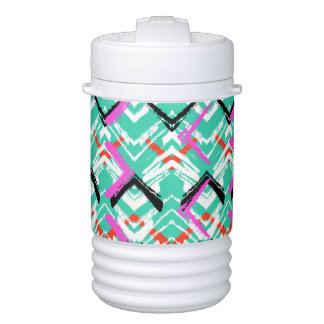 Hand Drawn Teal Zig Zag Pattern Drinks Cooler