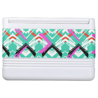 Hand Drawn Teal Zig Zag Pattern Igloo Cooler