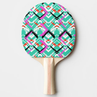Hand Drawn Teal Zig Zag Pattern Ping Pong Paddle