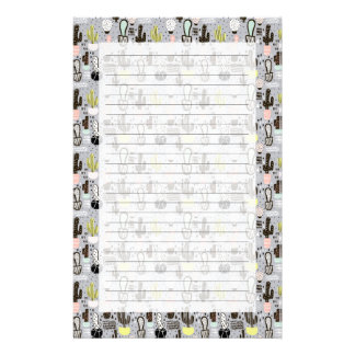 Hand Drawn Textured Cactus Pattern Stationery