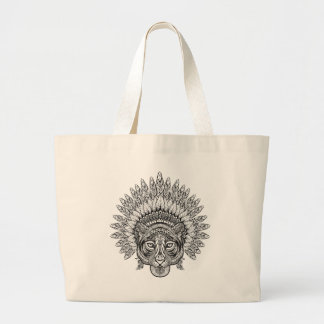 Hand Drawn Tiger In Style Large Tote Bag