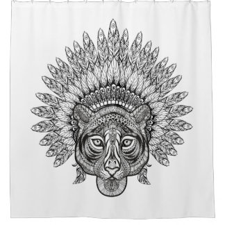 Hand Drawn Tiger In Style Shower Curtain