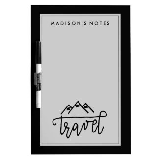 Hand Drawn Travel Text Dry Erase Board