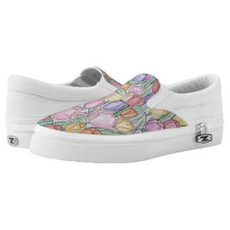 Hand-drawn Tulips Sneakers