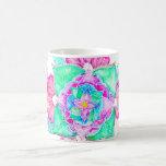 Hand drawn turquoise floral watercolor mandala basic white mug