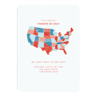 Hand Drawn United States July 4 Invitation