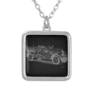 hand drawn vintage fire truck inverse silver plated necklace
