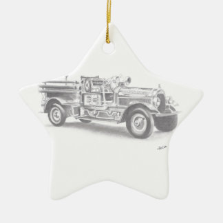 hand drawn vintage fire truck sketch christmas ornament