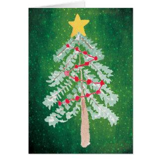 Hand Drawn Watercolor Christmas Tree Holiday Card