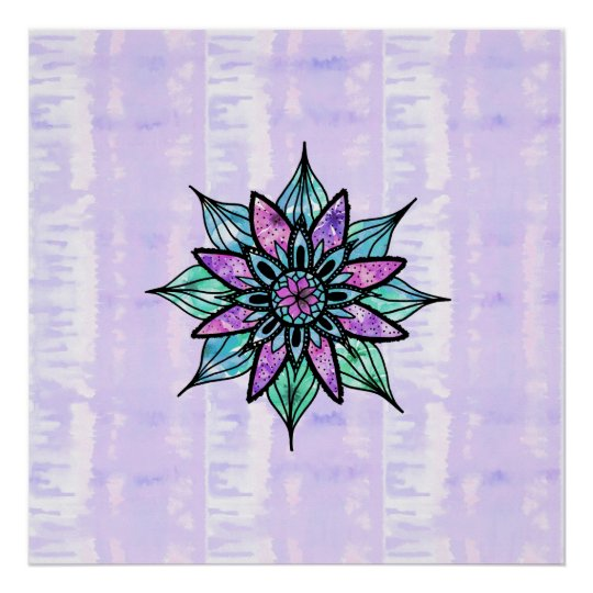 Hand Drawn Watercolor Flower on Purple Tie Dye
