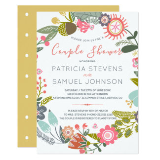 Hand drawn wildflowers meadow wreath couple shower card