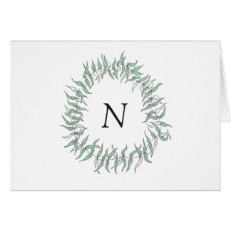 Hand Drawn Wreath Monogram Card