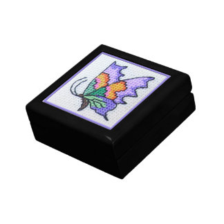 Hand embroidered bright butterfly gift box