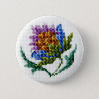 Hand embroidered bright flower 6 cm round badge