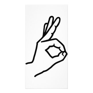 Hand finger ok photo cards