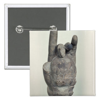 Hand from a colossal statue of Shiva, from Koh 15 Cm Square Badge