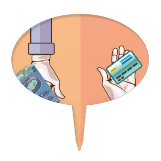 Hand giving money and credit card vector cake topper