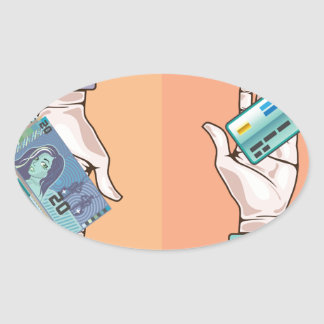 Hand giving money and credit card vector oval sticker