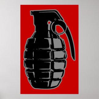 Hand Grenade - grey Print