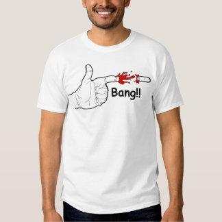 Hand Gun Bang white semi fitted mens tshirt